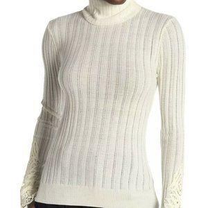 Elie Tahari Women's Sweater White Ivory Size Large